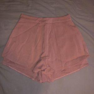 High waisted light pink flowy shorts